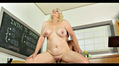 Old teacher, Old dick, Busty mature