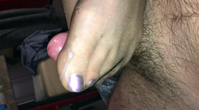 Nylon footjob, Nylon feet, Slow, Nylon cumshot, Footjob nylon, Feet pov