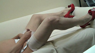 Gay, Stockings, Double, White pantyhose, Pantyhose handjob