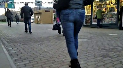 Voyeur, Street, Walking, Big ass cam, Walking ass