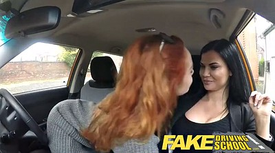 School, Busty threesome, Fake tits, Driving