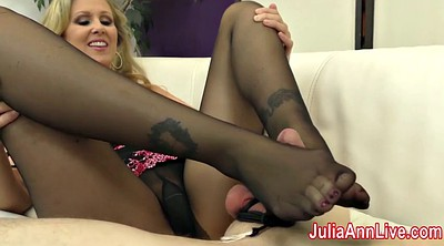 Julia ann, Foot slave, Femdom footjob, Stocking footjob, Slaves, Stockings footjob