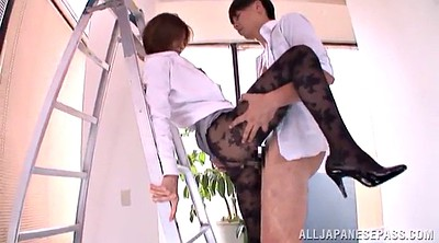 Asian milf, Office pantyhose, Fingering orgasm
