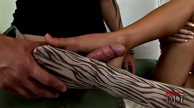 Feet, Footjob, Pantyhose footjob