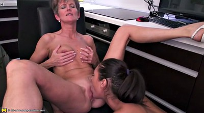 Lesbian mom, Old and young, Kitchen, Mature lesbians, Mom and daughter, Old mom