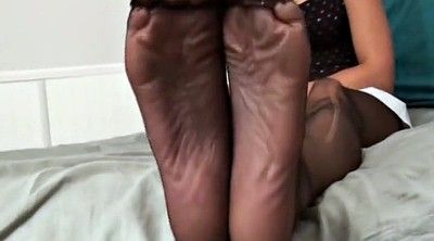 Footjob, Nylon footjob, Black feet, Nylons, Nylon feet, Nylon foot