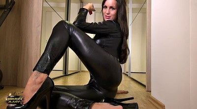 Leather, Suit, Milf feet, Tease, Ebony feet