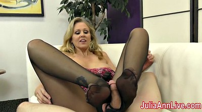 Julia ann, Foot slave, Femdom footjob, Stocking footjob, Stockings footjob, Slaves