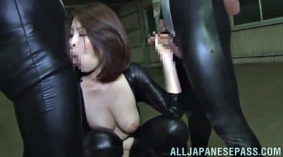 Leather, Double pussy, Asian double, Asian bdsm, Double blowjob