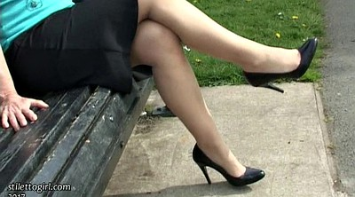 Mature feet, Mature solo, Public park, Public feet, Parking