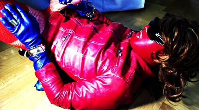 Leather, Gloves, Big boot, Red