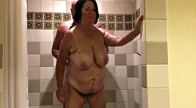 Mature shower, Mature handjob, Wife handjob