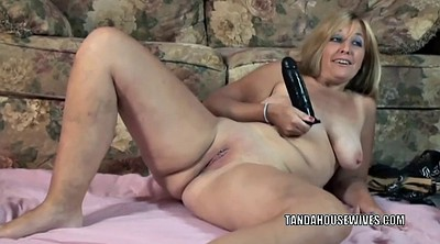 Blonde cougar, Plump, Wife dildo