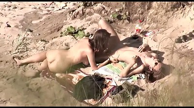 Nudist, Voyeur couple, Public beach