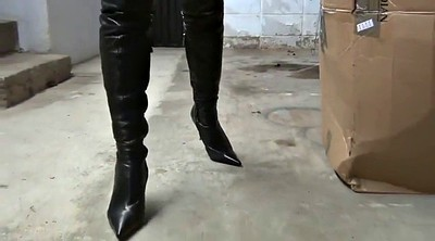 Leather, High heels, High