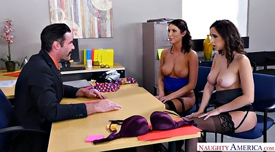 Threesome, Hairy creampie, Secretary, August ames, Shaking, Chubby threesome