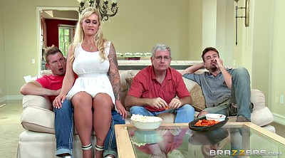 Blonde stepmom, Stepson, Big tits stepmom, Seduce mature