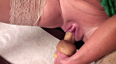 Mature solo, Huge dildo