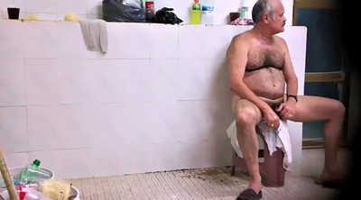 Big cock, Hairy gay, Old daddy gay, Public bathroom