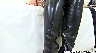 Boots, Hairy mature, Leather boots, Hairy dildo, Leather boot