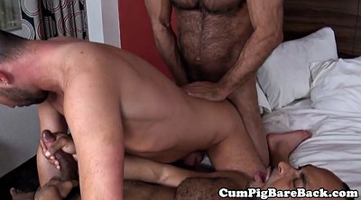 Interracial hairy, Trio, Hairy mature