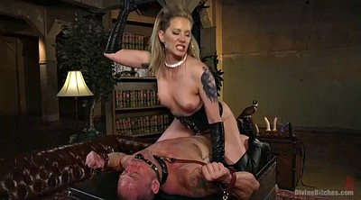 Mistress, Handjob, Mature boy, Leather, Mistress handjob, Milf boy