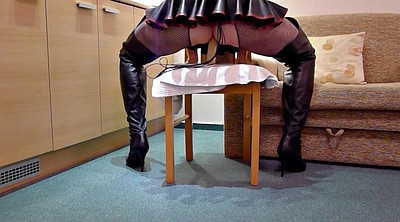 Leather, Boot, Leather boots, Latex anal, Toy public