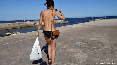 Beach, Naked, Solo squirting, Walking, Solo squirt, Squirt solo