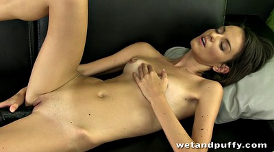 Slender, Solo fingering, Double pussy