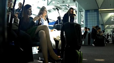 Nylon feet, Nylon foot, Pantyhose feet, Airport, Candid