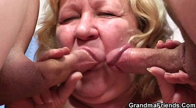 Busty mature, Busty granny, Old young threesome, Double granny, Busty threesome