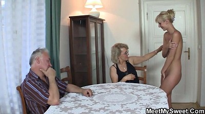 Teen threesome, Father, Old mom, Mom teach, Young mom