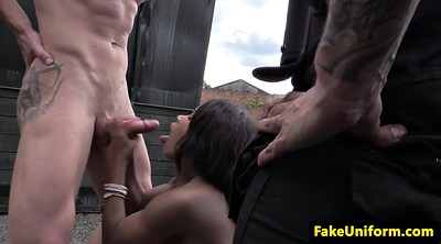 Cops, Outdoors, Threesome amateur