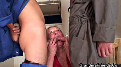 Busty, Two mature, Old young threesome, Grandmas