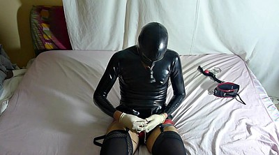 Latex bondage, Gay bondage, Eat cum, Latex masturbation