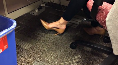 Candid, Shoeplay, Office foot, Candid feet