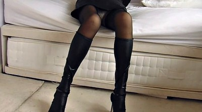 Leather, Upskirt, Nylon stockings, Black stockings, Nylon stocking, Stockings upskirt