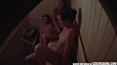 Caught, Sauna, Hidden masturbation, Three girls