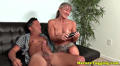Mature handjob, Couch