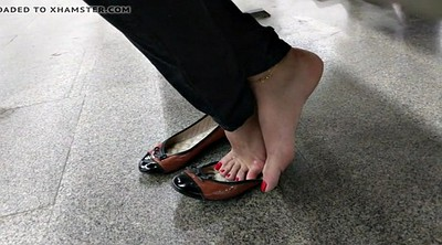 Hidden cam, Candid feet, Subway, Toenail