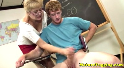 Old teacher, Mature handjob