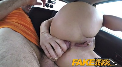 Threesome creampie, British, Fake drive, Drive