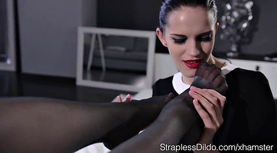 Secretary, Stockings, Lesbian foot fetish pantyhose