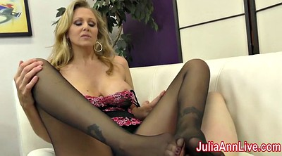 Julia, Feet cum, Stocking footjob, Julia ann milf, Foot slave, Stockings tease