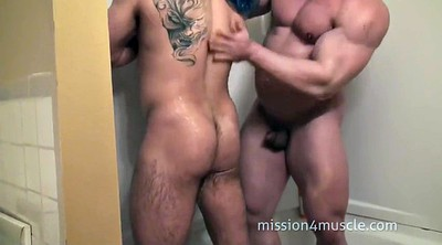 Muscle, Wash, Washing, Old young gay, Old & young