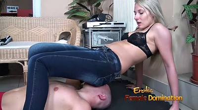 Facesitting, Jeans, Bra, Beautiful face, Femdom facesitting