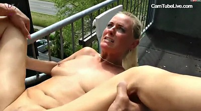 Watching, Teen gangbang, Balcony, Masturbate, Teen whore, Interracial gangbang