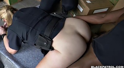 Femdom blowjob, Sitting, Chubby interracial, Chubby blonde, Truck, Fuck police