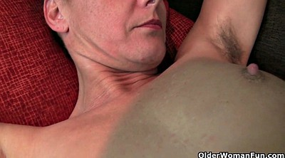 Mature masturbating, Hairy granny