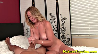 Mature couple, Tugging, Mature handjob